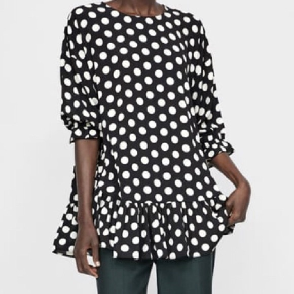 9a7c712fd2 Zara Tops | Black White Polka Dot Tunic Worn Only Once | Poshmark
